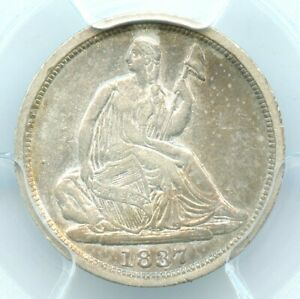 1837 NO STARS SMALL DATE LIBERTY SEATED HALF DIME PCGS VF25