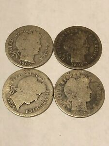 LOT OF 4 BARBER DIMES 1895 1901  ?  QTY 2 1905 90  SILVER