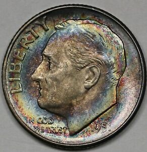 1951 S ROOSEVELT DIME. CHOICE UNCIRCULATED TONED. RAW0839/JS