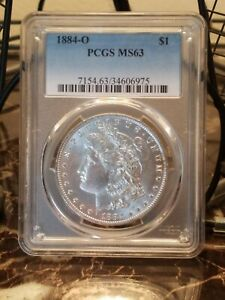 1884 O MORGAN DOLLAR MS 63 PCGS VAM 37A1  R 6  18 IN DENTICLES DIE BREAK U NICE