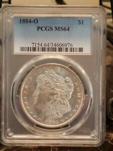 1884 O MORGAN SILVER DOLLAR MS 64 PCGS VAM 23B R 5 CLASHED N & S DIE BREAK CAP