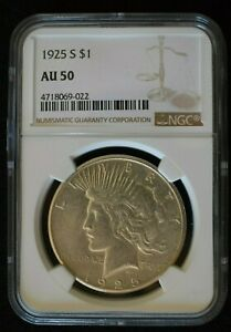 1925 S SILVER PEACE DOLLAR NGC AU 50 ABOUT UNCIRCULATED