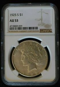 1925 S SILVER PEACE DOLLAR NGC AU 53 BETTER GRADE ABOUT UNCIRCULATED