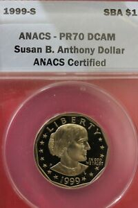 1999 P PR 70 SUSAN B ANTHONY DEEP CAMEO ANACS GRADED SLAB LABEL ERROR  OCE 741