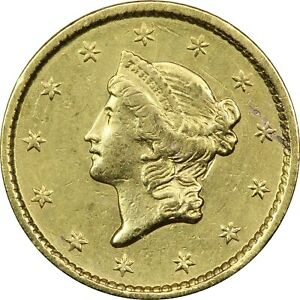 1852 TYPE 1 LIBERTY GOLD DOLLAR $1 LY FINE XF. CLEANED