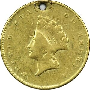 1854 1856 NO DATE TYPE 2 LIBERTY GOLD DOLLAR $1 CIRCULATED. HOLED