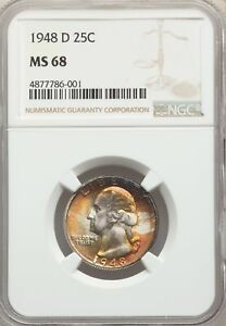 Click now to see the BUY IT NOW Price! 1948 D US SILVER 25C WASHINGTON QUARTER   NGC MS68