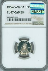 1966 CANADA 10 CENTS NGC PL67 CAMEO MAC FINEST REGISTRY MAC SPOTLESS DEAL