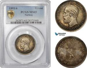 Click now to see the BUY IT NOW Price! AE790 NORWAY OSCAR II 1 KRONE 1895/4 KONGSBERG SILVER PCGS MS65 POP 1/0