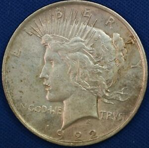 1922 PEACE DOLLAR. DETACHED LAMINATION REVERSE. RAW511/BS