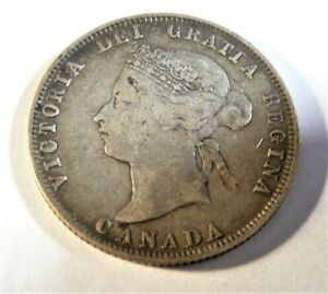 1872 H CANADA 25 CENTS SILVER COIN WITH INVERTED 'V'  SB1