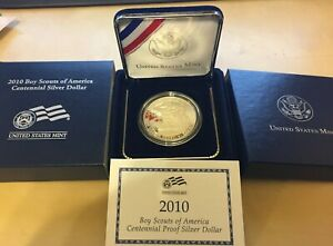 2010 BOY SCOUTS OF AMERICA PROOF SILVER DOLLAR ORIGINAL GOV'T PACKAGING