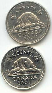 CANADA 2000 AND 2001 CANADIAN NICKELS FIVE CENT PIECES 5C 5 C  EXACT  SET