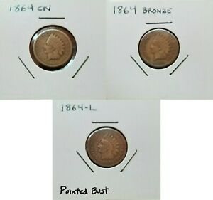 1864 INDIAN HEAD CENT TYPE SET   CN   BRONZE   L   ALL 3  COINS   NICE VG