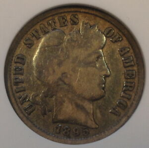 1895 BARBER DIME ANACS F12 OLD SMALL HOLDER ONLY HINTS OF LIBERTY VISIBLE DUE TO
