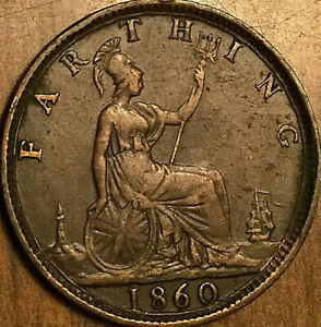 1860 GREAT BRITAIN VICTORIA FARTHING COIN