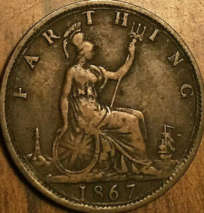 1867 GREAT BRITAIN VICTORIA FARTHING COIN