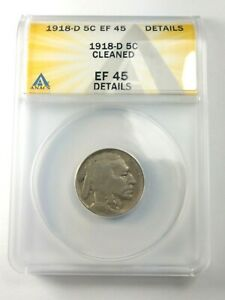 HIGH GRADE 1918 D BUFFALO NICKEL GRADED BY ANACS AS AN EF 45 DETAILS CLEANED