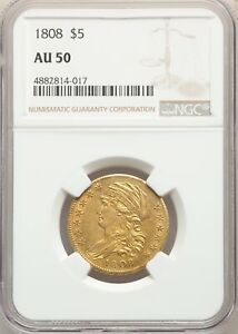 1808 US GOLD $5 CAPPED BUST HALF EAGLE   NGC AU50