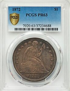 1872 US SEATED LIBERTY SILVER DOLLAR PROOF $1   PCGS PR63