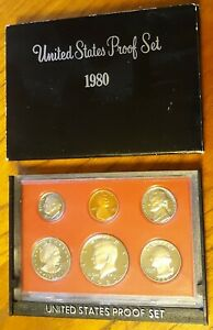 1980 S UNITED STATES MINT ANNUAL 6 COIN PROOF SET WITH ORIGINAL BOX DOLLAR COIN