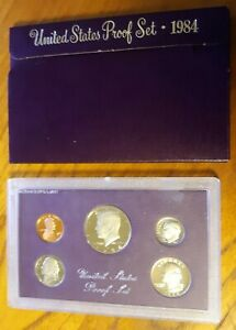 1984 S UNITED STATES MINT ANNUAL 5 COIN PROOF SET WITH ORIGINAL BOX KENNEDY HALF