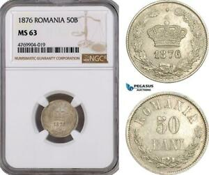 Click now to see the BUY IT NOW Price! AE890 ROMANIA CAROL I 50 BANI 1876 BRUSSELS SILVER NGC MS63
