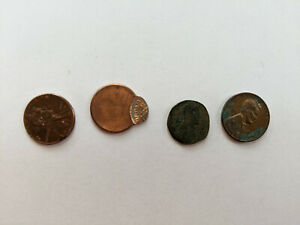 SET OF FOUR UNIQUE PENNIES   1960 2009 LINCOLN PENNY ERROR PENNY AND MORE