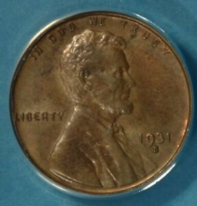 1931 S LINCOLN WHEAT CENT ANACS MS60BN  SEMI KEY DATE LIGHT BROWN EXAMPLE
