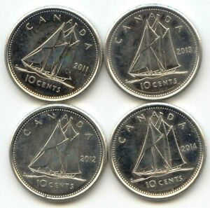 2013 CANADA TEN Cent Dime UNC 10 Cent Coin from Mint Roll