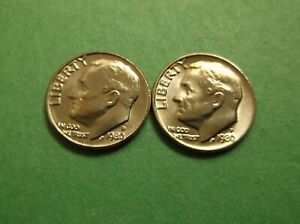 1979 P and D Roosevelt Dime 2 Coins from US Mint Set BU Cellos Ten Cents Two 10c