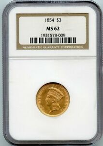 Click now to see the BUY IT NOW Price! 1854 THREE DOLLAR $3 GOLD NGC MS 62