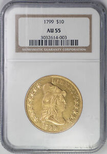 1799 $10 DRAPPED BUST   TYPE 2 HERALDIC EAGLE   NGC AU55   US  COIN
