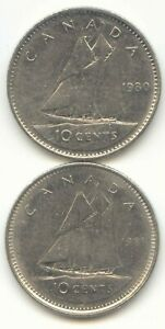 CANADA 1980 AND 1981 CANADIAN DIMES TEN CENTS 10C  EXACT  COIN SHOWN