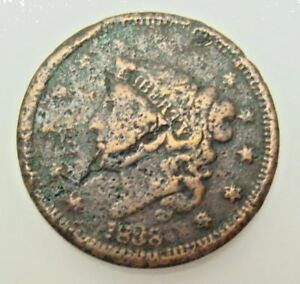 1838 LARGE CENT BARGAIN COLLECTOR COIN   IN USA