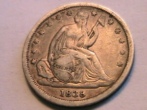 1838 SMALL STARS SEATED DIME CHOICE XF /AU LUSTROUS LIGHT TONE USA 10 CENT COIN