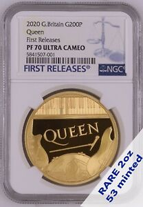 Click now to see the BUY IT NOW Price!  QUEEN BAND COIN 2OZ GOLD NGC PF70 FIRST RELEASES 53 MINTED   GRADED PERFECT