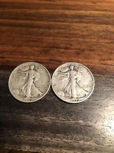1937 D  & 1939 S 2 LOW MINT EARLY LIBERTY WALKING HALF DOLLARS SILVER COIN LOT