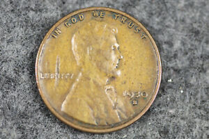ESTATE  FIND 1930 S  LINCOLN WHEAT CENT MINT ERROR STRUCK THRU FRAGMENT L01079