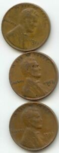 USA 1953 1953D 1953S  ONE CENT AMERICAN PENNIES 1C EXACT SET SHOWN