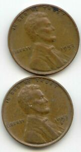 USA 1953 & 1953D ONE CENT AMERICAN LINCOLN WHEAT PENNY 1C EXACT COIN SHOWN