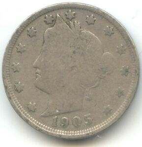 USA 1905 FIVE CENT AMERICAN LIBERTY NICKEL 5C EXACT COIN SHOWN