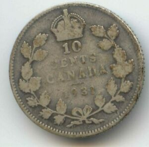 CANADA 1931 SILVER DIME CANADIAN 10 CENT PIECE 10C 10 C EXACT COIN SHOWN