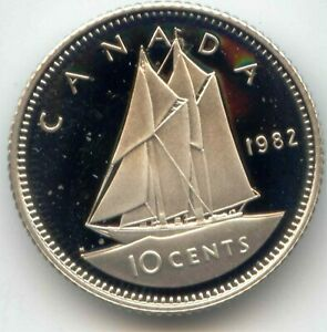 CANADA 1982 FROSTED PROOF DIME CANADIAN 10C EXACT COIN SHOWN