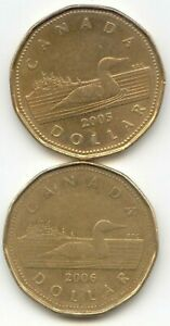 CANADA 2005 & 2006 LOONIES CANADIAN ONE DOLLAR $1 EXACT COIN SHOWN
