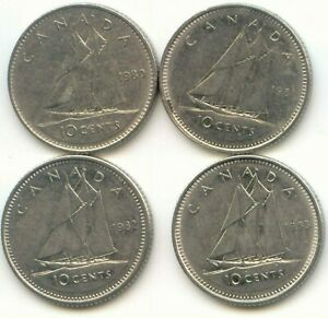 CANADA 1980 1981 1982 & 1983 CANADIAN DIMES TEN CENTS 10C  EXACT  COIN SHOWN