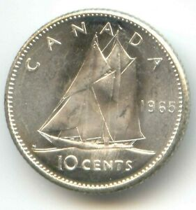 CANADA 1965 UNC CANADIAN SILVER DIME TEN CENTS 10C HIGH GRADE  EXACT  COIN