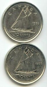 CANADA 1998 1999 CANADIAN DIME TEN CENTS 10C 10 C  EXACT  SET SHOWN IN IMAGES