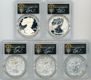 2011 ASE 5 COIN SET MS/PR70/SP70 PCGS 25TH ANNIV FIRST STRIKE T. CLEVELAND TORCH