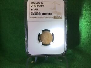 1922 NO D 1C CENT LINCOLN WHEAT PENNY NGC F 12 BN  & INS
